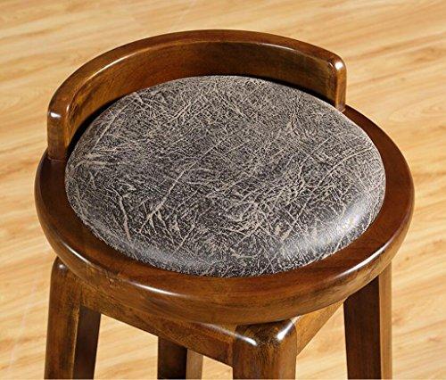 Tabouret en bois Tabouret de bar en bois massif rétro haute-tabouret style américain rotatif tabouret de bar chaises de réception vert PU siège surface (Couleur : # 1)