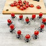 24pcs Fruit Toothpick Dessert Forks, Creative Adorable Mini Black Plastic Ant Food Forks Cute Home Decoration Party Picks Home Kitchen Accessories