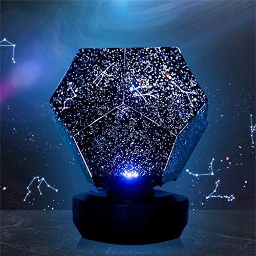 Wyxhkj LED Nachtlicht, Sternenhimmel Projektionslampe Dreifarbige Fernbedienung mit Drehknopf Sterne Projektor Romantische Atmosphäre Night Sky Lampe für Verliebte Kinder Geschenk (A)
