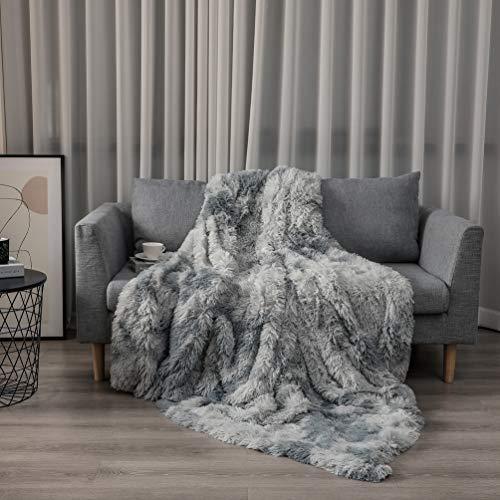 Kuscheldecke 130x160cm- Flauschige Wohndecke, Warme Bequeme Kunstpelzdecke Tagesdecke TV-Decke Sofadecke Grau