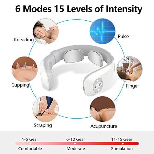 Massaggiatore Cervicale, EKUPUZ Massaggiatore per Collo Intelligente con Funzione di Calore, 6 Modalità 15 Livelli di Intensità Massaggio Cervicale Collo per Casa, Auto, Ufficio