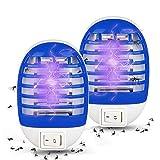 Sooair Elektrischer Insektenvernichter Lampe, 2 Stück UV-Licht LED Insektenvernichter Mückenkiller Mosquito Killer Lamp 2W Plug-in Indoor Fliegenfalle für Zu Hause Schlafzimmer