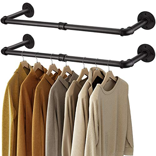 Greenstell Clothes Rack, 36in Industrial Pipe Wall Mounted Garment Rack, Space-Saving Hanging Clothes Rack, Heavy Duty Detachable Garment Bar, Multi-Purpose Hanging Rod for Closet Storage 2 Base (2 Pack)