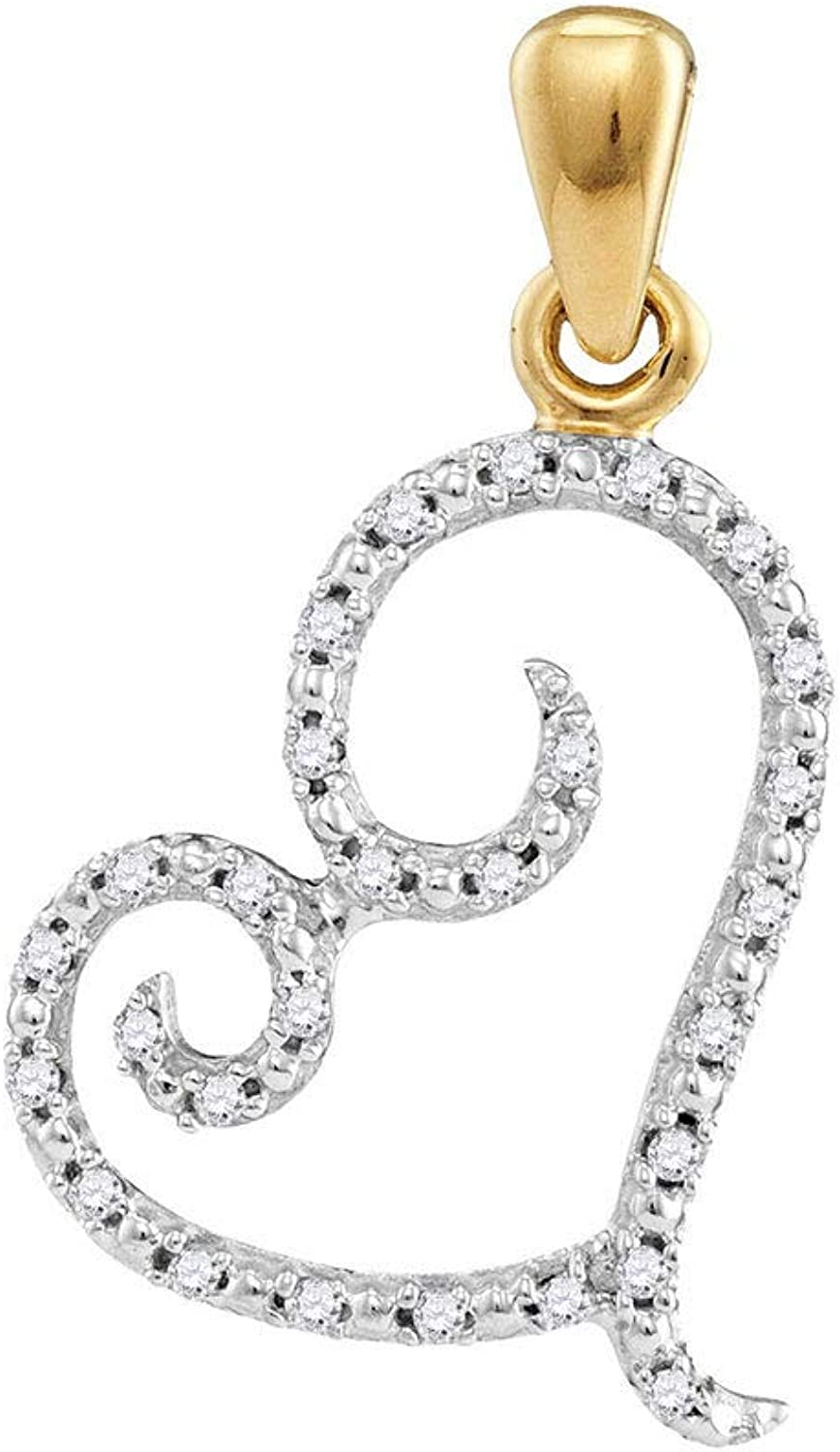 10kt Yellow gold Womens Round Diamond Curled Heart Pendant 1 10 Cttw
