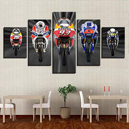TJJS Canvas HD Prints Posters Home Decor Wall Art Pictures 5 Pieces Motorcycle Racing Art Paintings