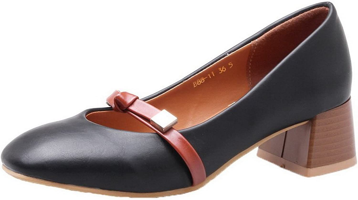 WeiPoot Women's Kitten-Heels PU Solid Pull-On Square Closed Toe Pumps-shoes, Black, 37