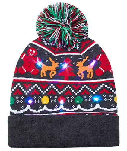 Novelties Christmas Knit Hat Christmas Tree LED Light-Up Ugly Sweater Holiday Xmas Beanies Bright 6 Colorful Flashing Blinking Warm Elk Knitted Cap for Vacation Running Event