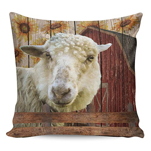 Litter Star Pillowcase Throw Pillow Covers Farm Sunflower Decorative Square Cushion Cover Pillow Cases for Sofa Couch Bedroom Living Room Sheep and Red Wooden Barn 24x24in