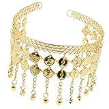 sharprepublic Quaste Stirnband Haarreife Haarband für Orientalischer Tanz, mit Münzen-Anhänger - Gold
