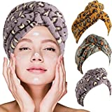 3 Pieces Leopard Microfiber Hair Towel Wrap Fast Drying Hair Cap Anti-Frizz Curly Hair Towel Hair Turban Microfiber Bath Towel Hat for Drying Wet Hair (Multi-Colors)