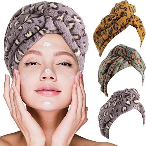 3 Pieces Leopard Microfiber Hair Towel Wrap Fast Drying Hair Cap Anti-Frizz Curly Hair Towel Hair Turban Microfiber Bath Towel Hat for Drying Wet Hair (Multi-Colors)