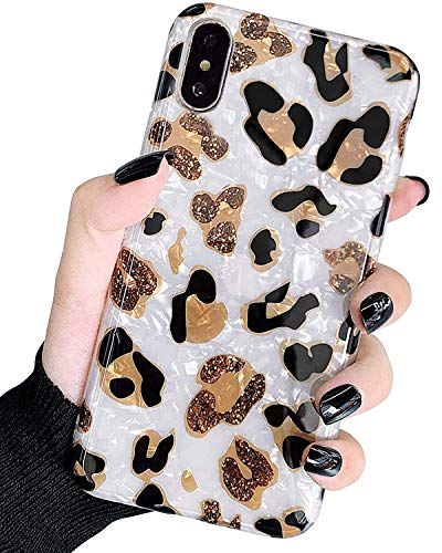 J.west iPhone X Case, iPhone Xs Case, Luxury Sparkle Glitter Bling Translucent Leopard Print Cheetah Pattern Soft TPU Phone Case Slim Fit Design Protective Phone Case Cover for Girls Women (White)