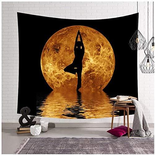 KBIASD Gran Tapiz para Colgar en la Pared decoración de la habitación Almohadilla para Dormir decoración del hogar con Estampado de Luna Estera de Yoga Manta Tapiz de Pared con Mandala 200x150cm