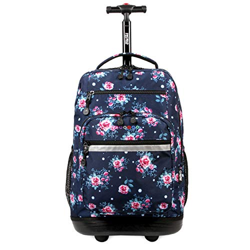 J World New York Sundance Laptop Rolling Backpack, Vintage Rose, 19'