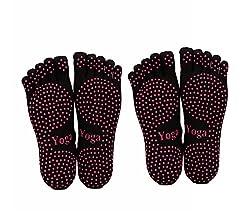 ThreeH Yoga Calcetines Antideslizantes Cinco dedos para mujeres Yoga Pilates Dance Ballet 2 pares Tama/ño4.5-7