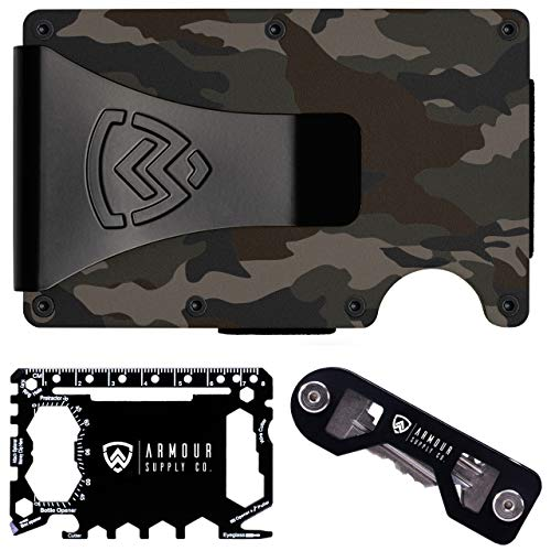Armour Supply Co. RFID Blocking Wallet For Men With Money Clip, Multitool & Key Holder (Woodland Camo)
