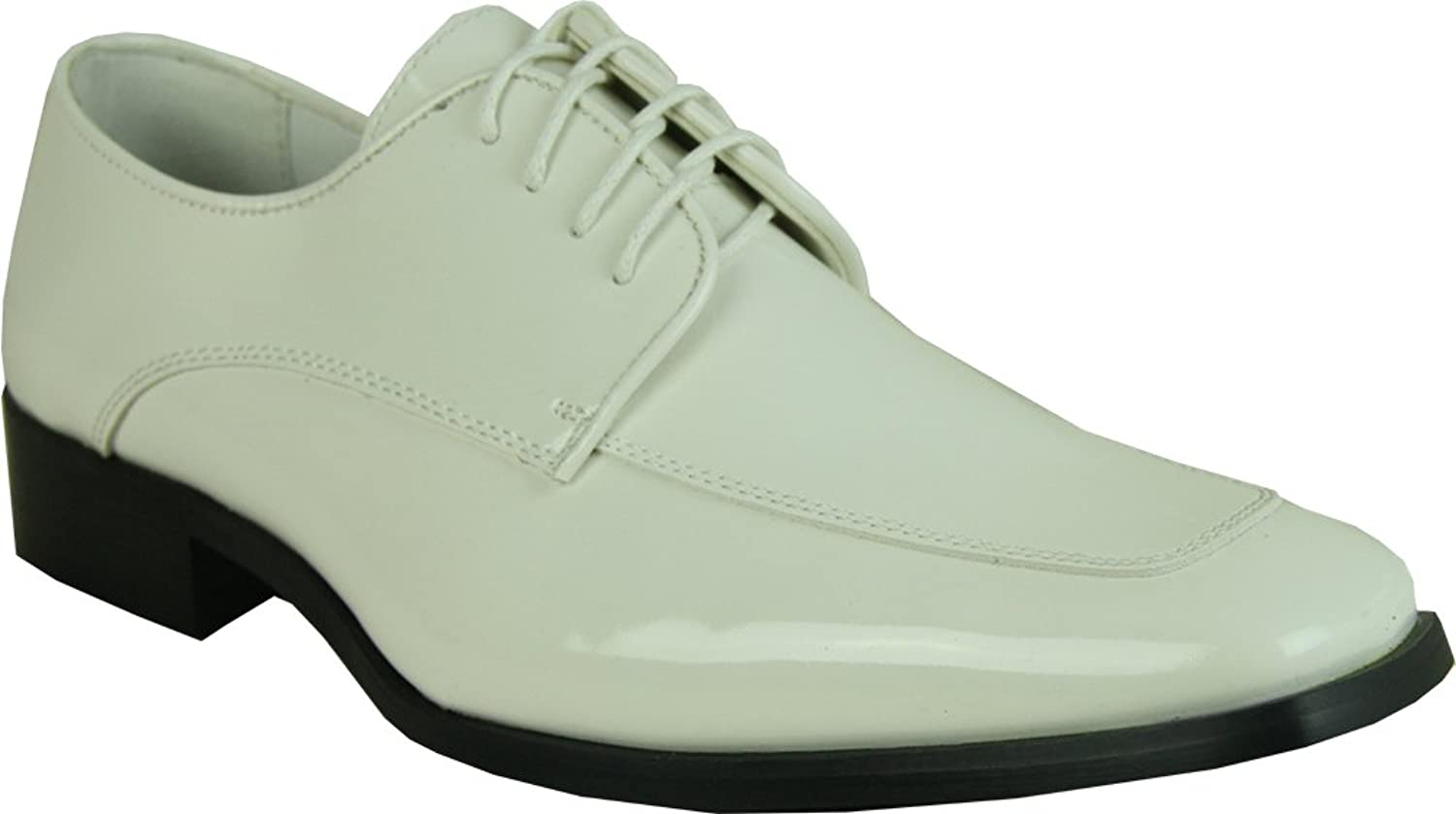 VANGELO Men's Tuxedo shoes Tux-3 Fashion Square Toe with Wrinkle Free Material Ivory Patent