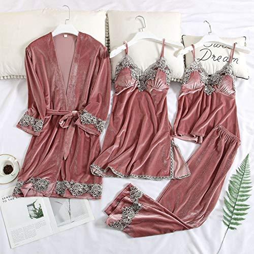 Dames Pyjama,Dames Gewaad & Jurk Set Goud Fluweel Sexy Kant Pyjama Dames Nachtkleding Lange Mouw Thuis Slaapset Kleding Homewear Loungewear