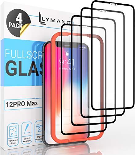 [4 Stück] LYMANO Panzer-Folie Glas Full Screen für iPhone 12 Pro Max Display-Schutzfolie Schutzglas Glass Protector [Anti Kratzer] [Blasenfrei] [Komplett Abdeckung] (6,7 Zoll)