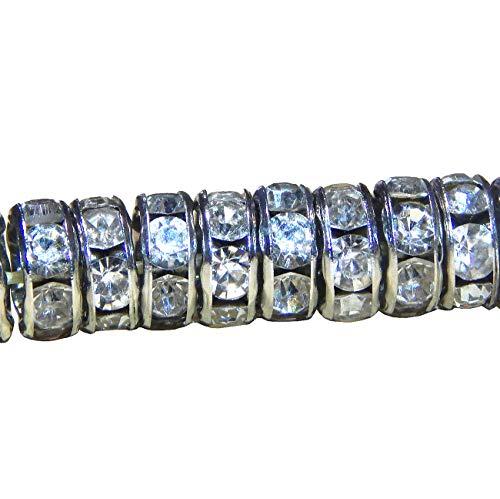 50 pezzi di strass in vetro cristallo 8 mm rondelle di grado A per la creazione di gioielli perline distanziatrici con strass distanziatori argento antico ottone metallo R26