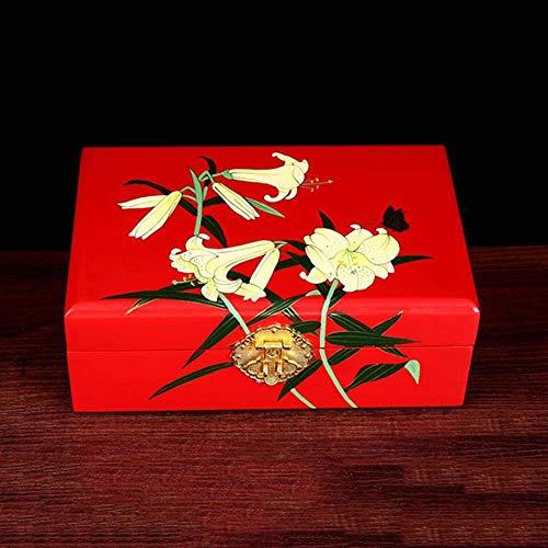 Caja de joyería de, Muebles y Regalos Chinos, Mano Hecho a Mano de Madera Caja de joyería Decorativa de Laca Negra Armario de joyería/Caja de joyería con diseño de Flor, Muebles orientales