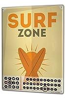 カレンダー Perpetual Calendar Retro Surf zone Tin Metal Magnetic