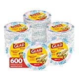 Glad Round Disposable Paper Plates for All Occasions | Soak Proof, Cut Proof, Microwaveable Heavy Duty Disposable Plates | 8.5' Diameter, 600 Count Bulk Paper Plates