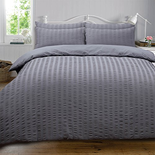 Highams Seersucker Duvet Cover with Pillow Case Bedding Set, Charcoal Dark Grey - Single