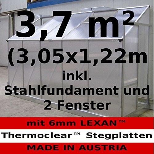 3,72m² Profi - Anlehn Gewächshaus Anlehngewächshaus Glashaus m. 6mm Hohlkammerstegplatten - (Platten MADE IN AUSTRIA) inkl. Stahlfundament von AS-S