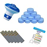SUDS-ONLINE Small Dispenser with 10 Multifunctional Chlorine Tablets 20g + Test Strips