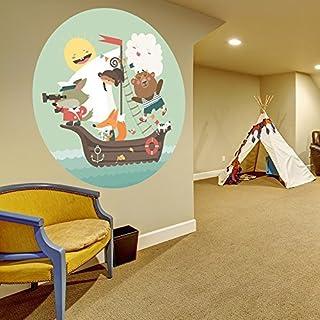 Adhesivo Pared habitación Infantil/Cuarto del bebé Navegación Animales Pirates Dibujos Animados Bebé Casa Adhesivo/MAR Barco Bricolaje Redondo Mural + Gratis Pegatina Regalo - 40x40 cm