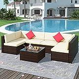 Merax 7 Pieces Patio, Weather PE Sectional Garden Furniture Corner Sofa Set for Backyard and Pool, Beige+Rattan