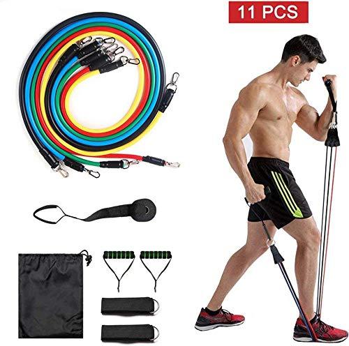 XRRRO Pull-up weerstand band 11 stuk set fitness band met fitness buis handvat deur anker enkelband mannen en vrouwen geschikt voor handtassen