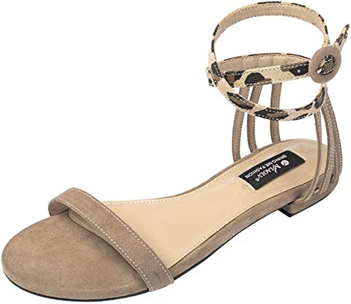 WDDqzf Tongs 2019 été Nouveau Nouveau Mot à Fond Plat avec des Sandales Romaines Version Féminine Coréenne du Plat Polyvalent à Sandales Simples, 37, Kaki  le plus récent