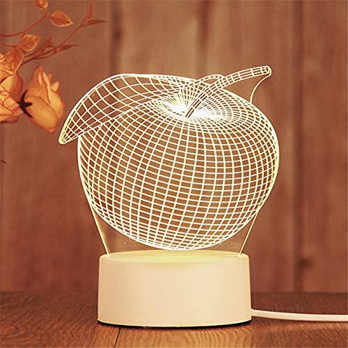 Tatapai 3D luces de noche dormitorio enchufe acrílico pequeña lámpara-Comercio Exterior General USB Plug_Apple