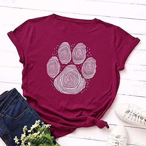 VIQNJ Summer Pure Cotton Camiseta de Mujer S-5XL de Manga Corta Manga Corta Camiseta con Estampado de Pata de Oso Top Casual Simple O-Neck Camiseta-Vino para Mujer Red_5XL