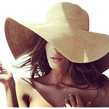 Wide Brim Straw Hat Sun Hats for Women Floppy Beach Summer Ladies Big Hat  uv UPF (Pack of 3) at Amazon Women's Clothing store