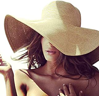 Women's Sun Hat Wide Brim Straw Hat Packable Roll Up UPF50+ Ladies Beach Hat Chin Strap Pack of 3
