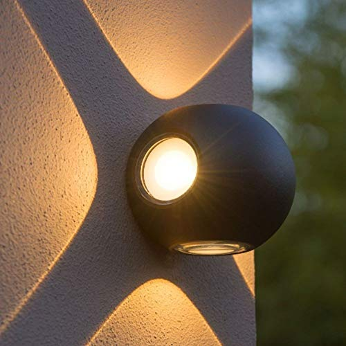 Lámpara de Pared LED 12W, Interior y Exterior, Aplique Moderno Circular Negro Suelo Impermeable IP65, Blanco Cálido 3000K (1 ud.)