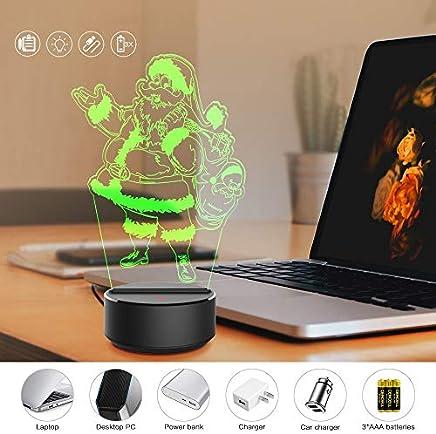 SANNYSIS Glowing Christmas 3D Night Light Desk Lamp 7 Colors Santa Claus