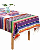 BOXAN Chic Mexican Blanket Tablecloth, 100% Cotton Festive Fiesta Table Cloths for Mexican Wedding Bridal Shower Birthday Party Table Linen, Stylish Outdoor Picnic Dinning Table Overlay, 59 x 84 Inch