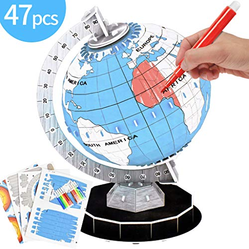 Wenosda 3D DIY Malerei Globe-Earth Modellbau Kits 3D Jigsaw Puzzles Puzzle World Game Lernspielzeug Kontinente Füllfarben Spielzeug für Kinder Jungen & Mädchen