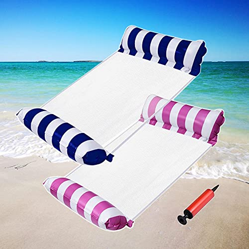 AIWAN LEZHI 2-Pack Premium Swimming Pool Float Hammock, Comfortable Inflatable Swimming Pools Lounger, Water Hammock Lounge (Navy Blue,Pink)
