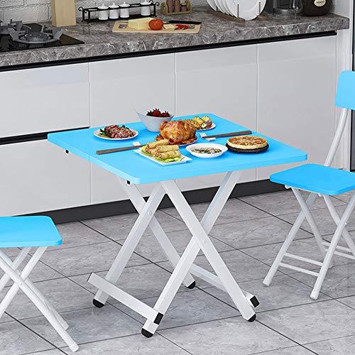 Outdoor Portable Folding Table, Houten kleine eettafel, met antislipvoetjes en Double Folding ontwerp, geschikt voor keuken woonkamer en slaapkamer,Blue