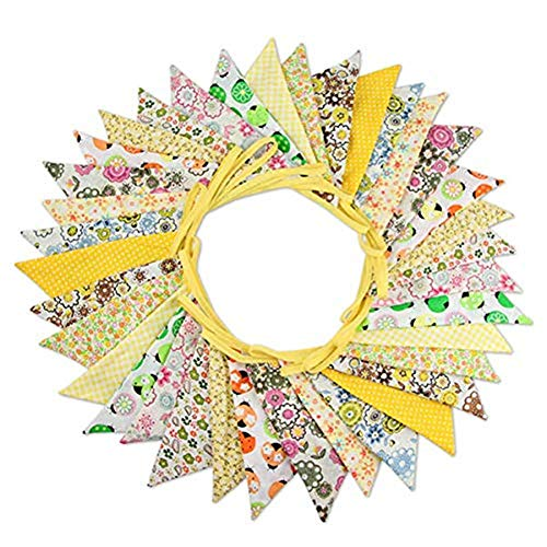 SHOH 10m Tela Bunting Banner 36 Unids Doble Cara Banderas Triángulo Garland, Vintage Banderas Banderines Florales para Bodas Fiestas De Cumpleaños Fiesta De Bienvenida Al Bebé Decoración del Hogar