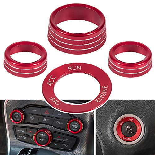4pcs Air Conditioning Button Cover & Engine Start Button Knob Trim for 2015-2020 Dodge Challenger Charger (Red)