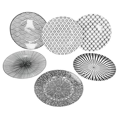 MamboCat Seoul 6-TLG. Kuchenteller Set I 6 Personen I 6 Muster I schwarz & weiß I Ø 20,5 cm I Frühstücksteller