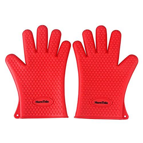 HornTide calore Guanti resistenti del forno del silicone Guanti resistere a 230 ° C Grip 446 ° F a cinque dita per la cottura alla griglia di cottura Taglia unica (Stile A, Rosso)