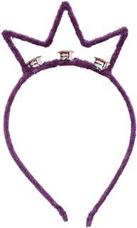 Amosfun Crown Headband Led Shining Plush Crown Hair Accessory Headband Hair Clasp for Party Ball Festival Birthday (Purple)