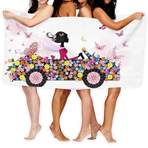 Fun Life Art Toalla de baño para coche, diseño de niña en una flor romántica, 100% poliéster, para gimnasio, playa, 51 x 80 cm